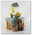 Schneekugel Katzenfang Aquarium mit Spieluhr