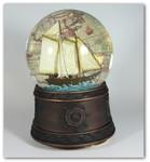 Schneekugel Segelschiff mit Spieluhr