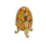 Schmuck Ei gelb mit Spieluhr nach Faberge-Art aus emailiertem Metall