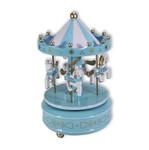 Karussell mit Pferden, Spieluhr Hellblau mit Spieluhr Melodie (Karussel, Jahrmarkt)