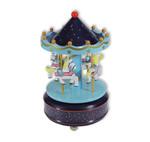 Karussell mit Pferden, Spieluhr Blau/Dunkelblau mit Spieluhr Melodie (Karussel, Jahrmarkt)