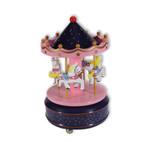 Karussell mit Pferden, Spieluhr Blau/Pink mit Spieluhr Melodie (Karussel, Jahrmarkt)