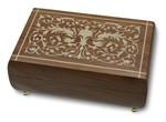 Schmuck-Schatulle Holz mit Ranken-Intarsienarbeit und Spieluhr Melodie wählbar (Spieldose, Musikdose)