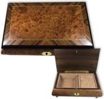 Schmuckschatulle mit grosser Edelholzeinlage und 18-Ton Spieluhren Melodie wählbar