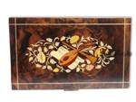 Große Spieluhr Schmuck-Schatulle Holz Instrumenten-Intarsie
