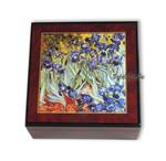 Bildlackschatulle Schwertlilien von Vincent van Gogh, mit Spieluhr