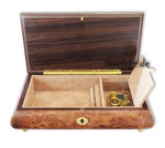 Dunkle-Schmuckschatulle mit Holzeinlegearbeit als Rosen-Motiv und Spieluhren Melodie wählbar