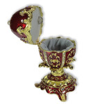 Schmuck- Ei Rot mit Ornamenten nach Faberge-Art aus emailliertem Metall