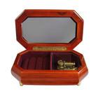 Braune Schatulle für Ringe, glänzend mit abgeschrägten Ecken und Spieluhr