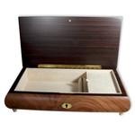 Schmuckschatulle mit Wurzelholzeinlage und 30 Ton-Melodie wählbar (Musikdose, Spieldose)
