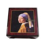 Bildlackdose Mädchen mit Perlenohrring von Jan Vermeer, mit Spieluhr
