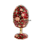 Schmuck- Ei Rot mit Rosen und Spieluhr nach Faberge-Art aus emailliertem Metall