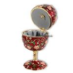 Schmuck- Ei Rot mit Rosen und Spieluhr nach Faberge-Art aus emailiertem Metall