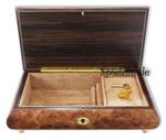 Dunkle Spieluhren-Schmuckschatulle Holz mit Intarsienmotiv Tänzer