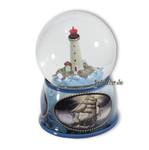 Schneekugel mit Leuchtturm und Spieluhren Melodie