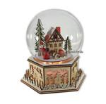 Glaskugel Bauernhaus Wintermotiv mit Beleuchtung und Spieluhr