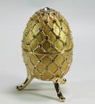 Spieluhren-Schmuck-Ei goldfarben nach Faberge-Art aus emailiertem Metall