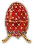 Schmuck- Ei Rot mit Spieluhr nach Faberge-Art aus emailiertem Metall