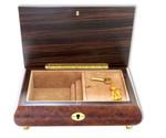 Schmuckschatulle mit grosser Edelholzeinlage und 30-Ton Spieluhren Melodie wählbar