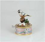 Spieluhr Musikdose mit Vogelmotiv Meise aus emailiertem Metall