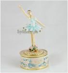 Spieluhr Ballerina Blau auf Metall-Sockel drehend aus emailiertem Metall
