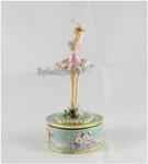 Spieluhr Ballerina Rosa auf Metall-Sockel drehend aus emailiertem Metall