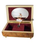 Ballerina Spieluhr Tanzpuppendose aus Holz mit Blumen-Intarsienmotiv