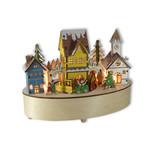 Winterdorf mit Beleuchtung und Spieluhr