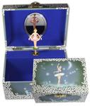 Schmuckdose mit drehender Ballerina Blau und Spieluhr Melodie (Spieldose, Musikdose, Schmuck-Schatulle)