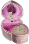 Schmuckdose mit Spieluhren-Ballerina in Herzform Rosa