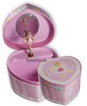 Schmuckdose mit Spieluhren-Ballerina in Herzform Pink