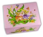 Schmuckdose rosa mit drehender Elfe innen (Spieldose, Musikdose, Ballerina-Schatulle)