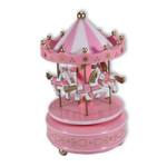 Karussell mit Pferden, Spieluhr Pink mit Spieluhr Melodie (Karussel, Jahrmarkt)