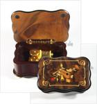 Ausgefallene Musikschatulle mit Motiv-Intarsie und 18-Ton Spieluhren Melodie