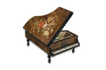 Großer Spieluhr Holz-Flügel mit Intarsienarbeit/Motiv, Melodie wählbar (Spieldose, Musikdose, Instrument)
