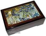 Bildlackschatulle Rechteckig Iris von Vincent van Gogh, mit Spieluhr