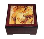 Bildlackdose Früchte von Alfons Mucha, mit Spieluhr