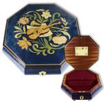 Achteckige Schmuck-Schatulle mit Instrumenten Intarsie und Spieluhr
