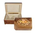 Holz-Schmucktruhe Spieluhr mit Intarsie in Form eines Blumenmotivs, Melodie wählbar (Spieldose, Musikdose)