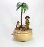 Spieldose Spieluhr Krippe unter Palmen aus dem Erzgebirge
