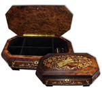 Schmuckschatulle XXL mit detailreicher Holz-Einlegearbeit und 30-Ton Spieluhr Melodie wählbar
