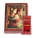 Schmuck-Schatulle rot mit schöner Maserung und wählbarer Spieluhrmelodie