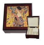 Bildlackschatulle Dame mit Fächer von Gustav Klimt, mit Spieluhr