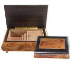Holz-Schmuck-Schatulle Edelholz-Furnierarbeit mit Spieluhr Melodie wählbar (Spieldose, Musikdose, Spielwerk)