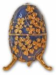 Schmuck-Ei-Blau mit Spieluhr nach Faberge-Art aus emailiertem Metall