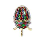 Spieluhren-Schmuck-Ei bunt mit Spieluhr nach Faberge-Art aus emailiertem Metall