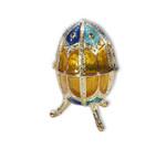 Spieluhren-Schmuck-Ei blau und goldfarben mit Spieluhr nach Faberge-Art aus emailiertem Metall