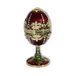 Spieluhren-Schmuck-Ei rot mit Spieluhr nach Faberge-Art aus emailiertem Metall