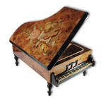 Großer Holz-Flügel mit edler Intarsienarbeit Melodie wählbar (Spieldose, Musikdose, Spieluhr Instrument)