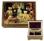 Kleine Schatulle mit Teddybären Motiv, Schmuckfach und Spieluhr